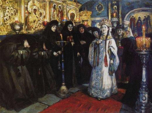 Посещение царевной женского монастыря, Суриков В.И., 1912
