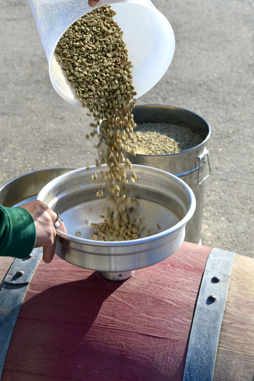 Befüllung mit Rohkaffee aus Mexico (Varietät: Bourbon)