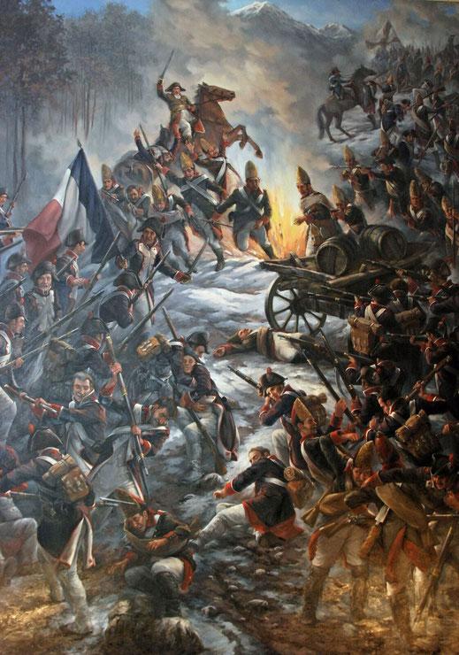Gemälde im Zeughaus Glarus: Kämpfe n der Seerüti im Klöntal zwischen Russen und Franzosen.