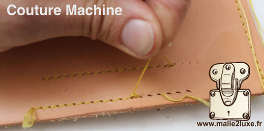 the machine seam consists of two separate threads, the one remaining on the top leather trunk