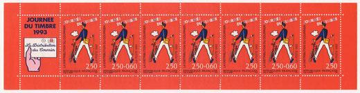 Carnet de timbres inspiré de l'affiche du film Jour de fête