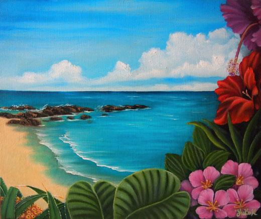 「奄美・手広海岸を想う」油彩 P8