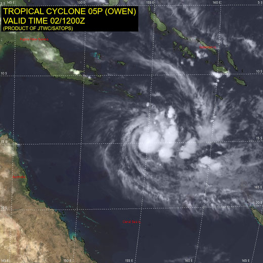 Satellite image of Tropical Cyclone Owen in the south west Pacific Ocean, 02/11/2018. Image from JTWC