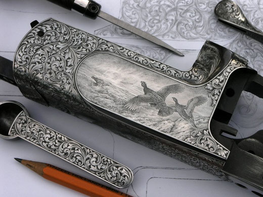 Red Grouse in Bulino technique, engraved on a Perazzi MX 8
