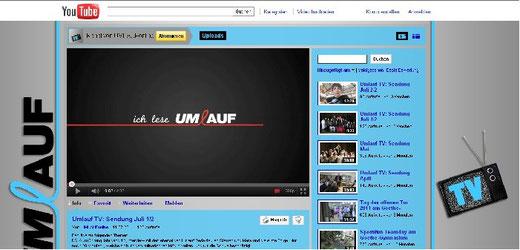 Die Youtube-Seite  Umlauf TV