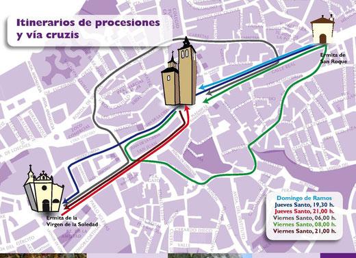 Itinerarios de Procesiones y V'ia Cruzis