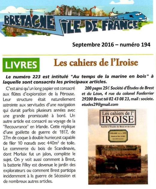 Bretagne - Île de France n° 194, septembre 2016