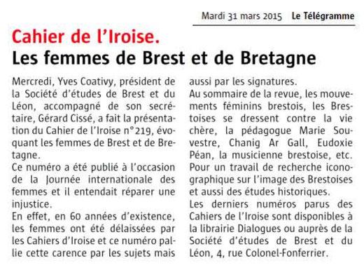 Le Télégramme, 31 mars 2015