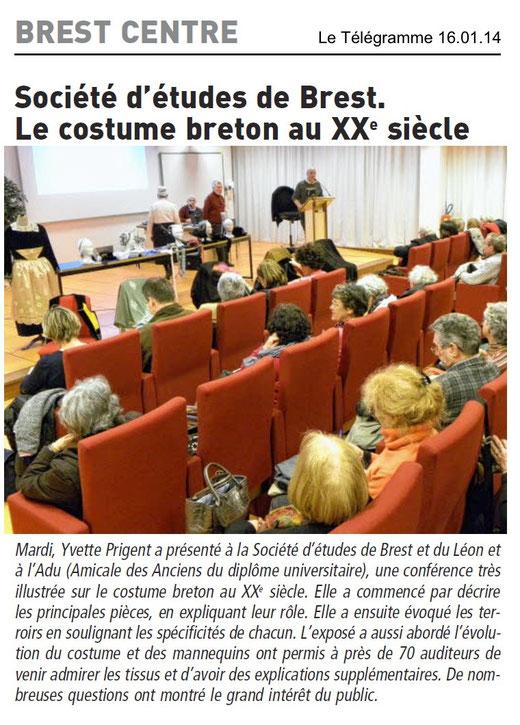 Le Télégramme, 16 janvier 2014