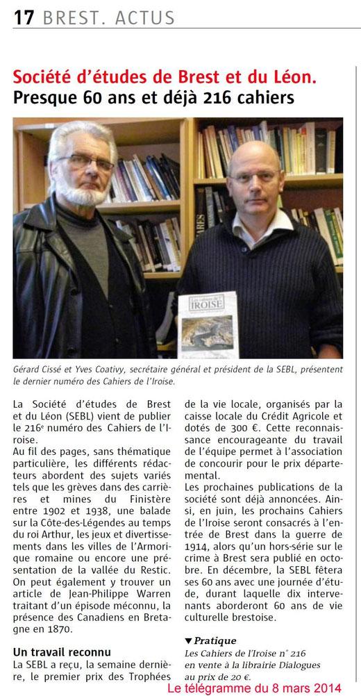 Le Télégramme, 8 mars 2014