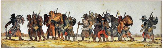 """""""Marche des soldats durant l'hiver 1915"""", crayon et aquarelle de G. Carré © Musée de la Grande Guerre du Pays de Meaux / Don Capiod"""