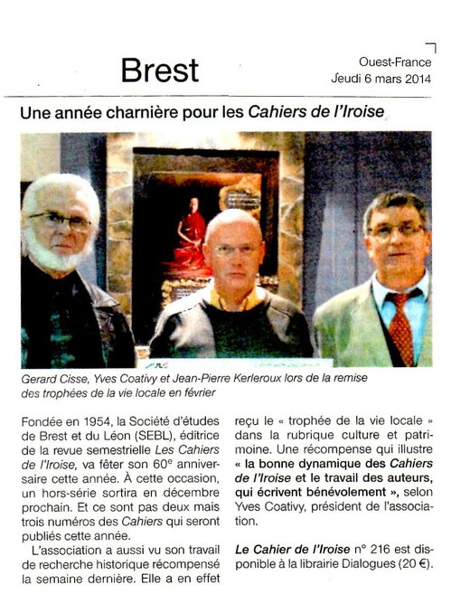 Ouest France, 6 mars 2014