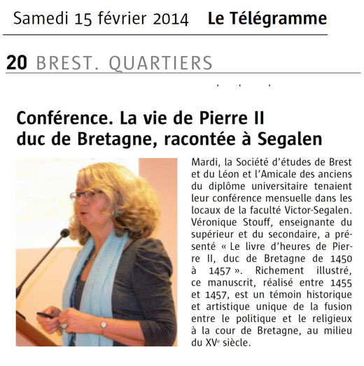 Le Télégramme, 15 février 2014