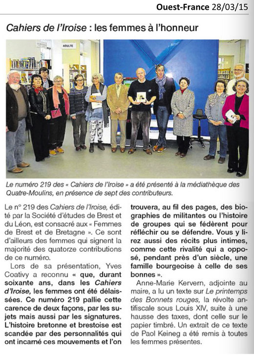 Ouest-France, 28 mars 2015