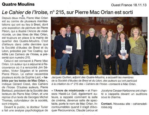 Ouest France, 18 novembre 2013