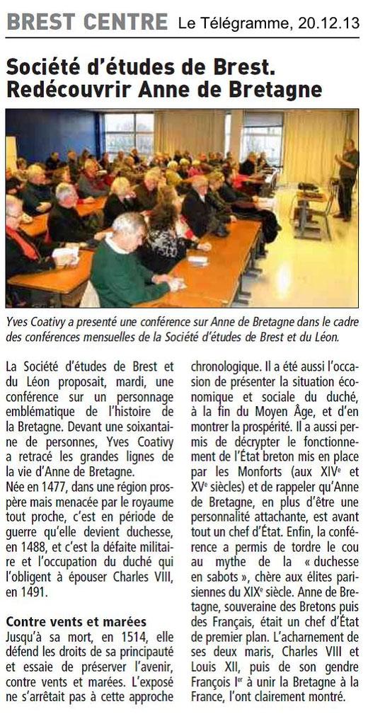 Le Télégramme, 20 décembre 2013