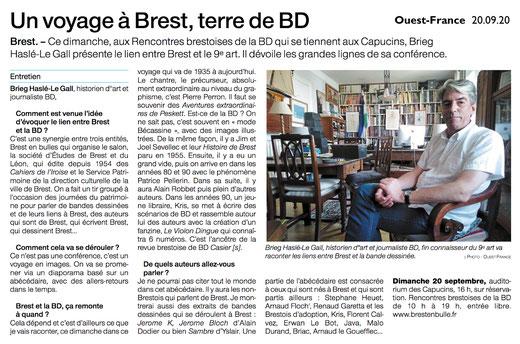 Ouest-France, dimanche 20 septembre 2020
