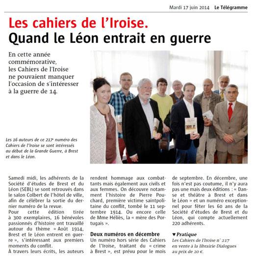 Le Télégramme, 17 juin 2014