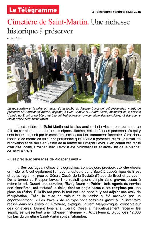 Le Télégramme, 6 mai 2016