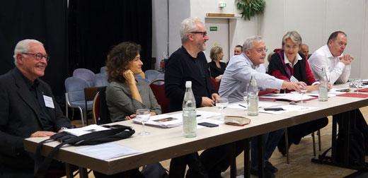 Die Jury der Endrunde: v.l.n.r. Armin Kretschmar (Camerata Nuova), Barbara Minghetti, Peter Spuhler, Graham Vick, Christina Scheppelmann, Dieter Kaegi