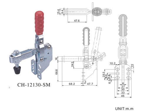 Vertical toggle clamp with Side Ward CH-12130-SM