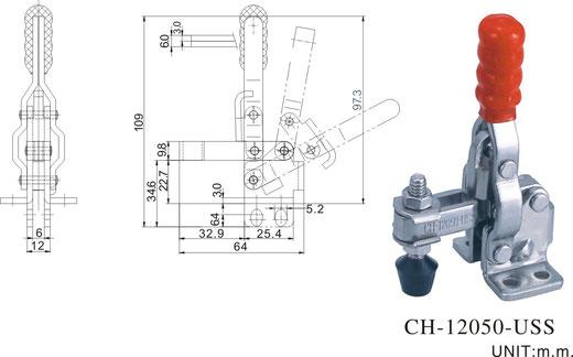 Senkrechtspanner Vertikalspanner mit waagrechtem Fuß CH-12050-U CH-12055-U