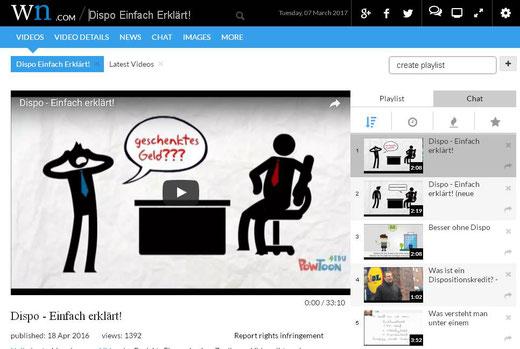 Unsere Videos auf der internationalen Videoplattform wn.com!!! (Screenshot vom 07.03.2017)