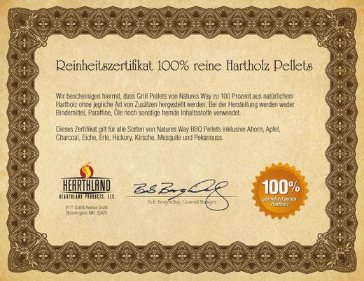Reinheitszertifikat Natures Way Grill Pellets