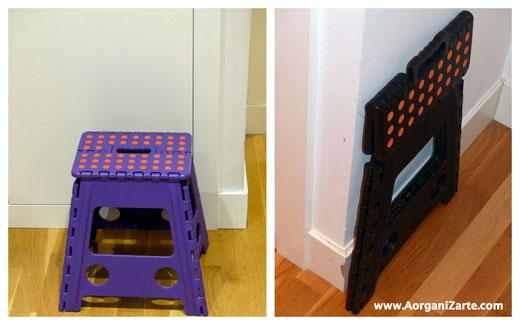 taburetes plegables para acceder a las baldas altas del armario - www.AorganiZarte.com
