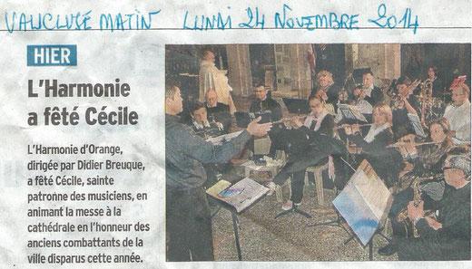 Concert de la Ste Cécile (23/11/14)