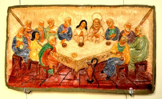 """Un tableau de la """"Cène"""" en céramique: église de Fescamps"""