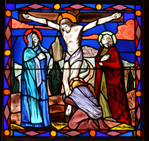 Crucifixion sur un carton de Louis Barillet au hameau de la Villette (Rollot)