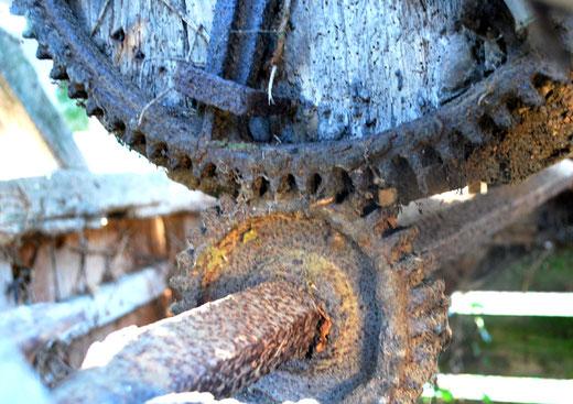 L'engrenage du puits avec ses deux roues dentées