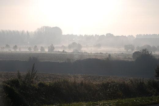 Brume au petit matin entre Doullens et Albert