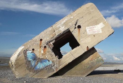 Vestiges de la seconde guerre mondiale sur la plage du Hourdel (commune de Cayeux-sur-Mer)