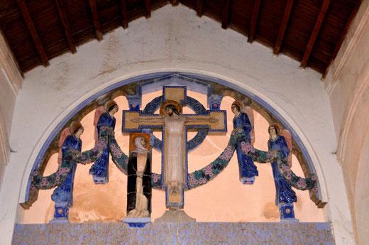 La magnifique poutre de gloire de l'église de Pys