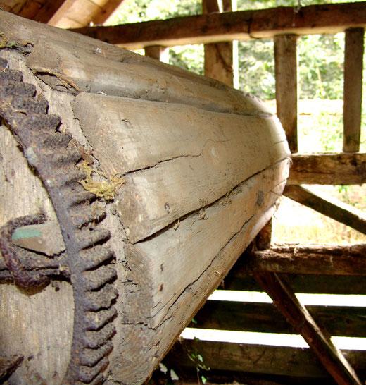 Le treuil du puits avec sa roue dentée