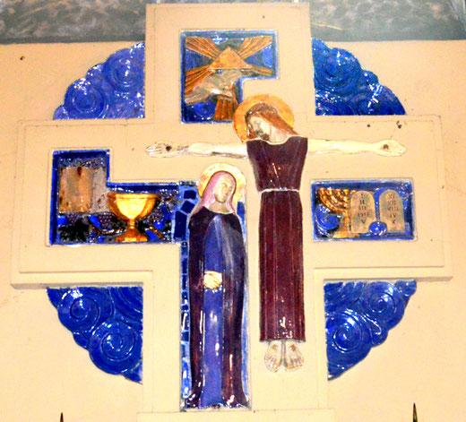 La Vierge-Marie auprès du Christ entouré des symboles de l'Eucharistie