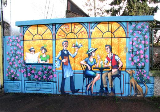 Fresque en trompe l'oeil à Condé-Folie- Photo: Jacques Fouré