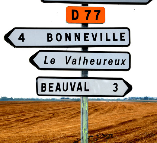Départementale 77:  Beauval, Bonneville, le Valheureux