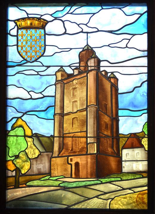 Le beffroi de Saint-Riquier sous la forme d'un vitrail: oeuvre de Claude Barre: 1998