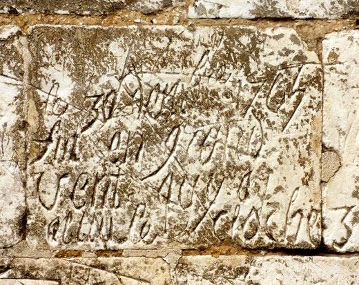 Graffiti sur les murs de l'église d'Esclainvillers- Photo: Stéphane Barbier-Clerc