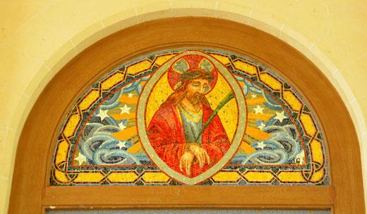 Tableau de Jacques Gruber, grand maître-verrier, dans l'église de Misery.