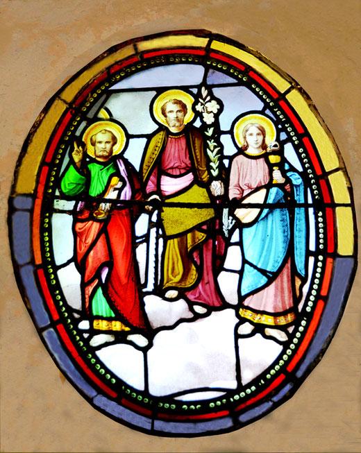 Les trois frères Brasseur représentés par leur saints patrons: Pierre, Joseph et Jean