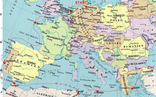 Hamburg - Amsterdam - Brest - Lissabon - Tanger - Tunis - Catania - Athen - Istanbul