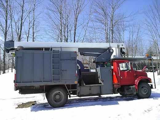 Camion nacelle avec déchiqueteuse