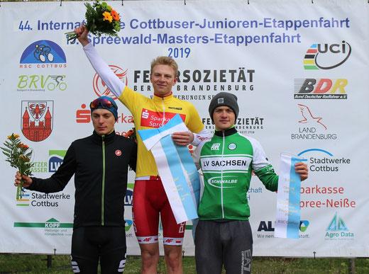 Der Pole Michal Galka gewinnt die 44.Internationale Junioren-Etappenfahrt vor Hannes Wilksch (LV Brandenburg) und Nicolas Heinrich vom Team Sachsen.