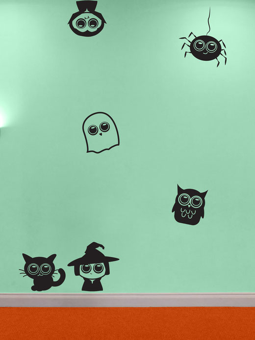 Easy to stick on Halloween themed cute Owl, Spider, Ghost, Cat, Witch and Vampire are available from www.wallartcompany.co.uk