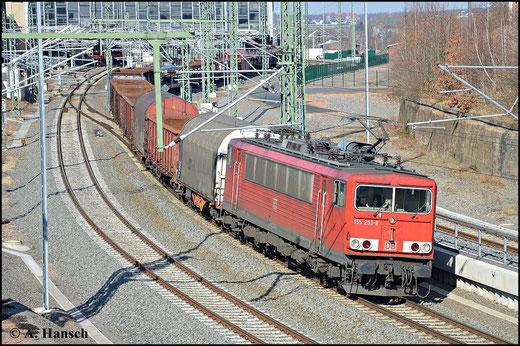 Am 7. März 2015 wurden einige Güterzüge über Chemnitz Hbf. umgeleitet. Darunter auch EZ 52523, der an diesem Tag von 155 253-8 befördert wird