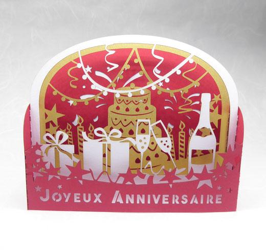 Carte d'anniversaire adulte en pop-up rouge et or fabriquée en France